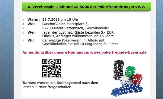 6. Vereinspokerspiel - Sit and Go 5000 der Pokerfreunde Bayern e.V.    Gasthof Adler Tickets